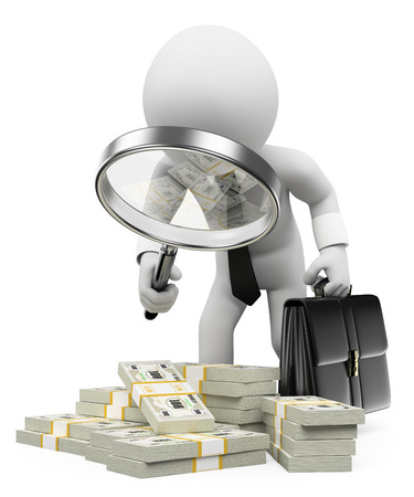 3d white people. Tax inspector with magnifying glass looking dirty undeclared money. Isolated white background.