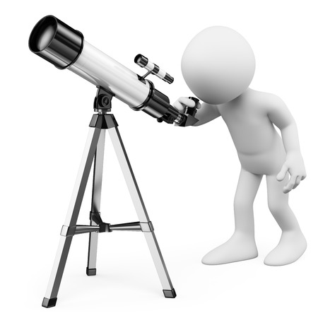 3d white people. Astronomer looking through a telescope. Isolated white background.
