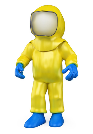 3d white people. Man with a biohazard suit by a biological warning. Biohazard. Isolated white background.