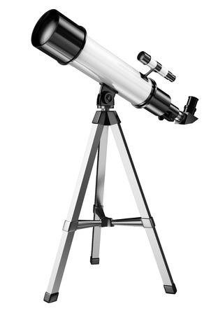 Photo for 3D telescope on a tripod. Isolated white background. - Royalty Free Image