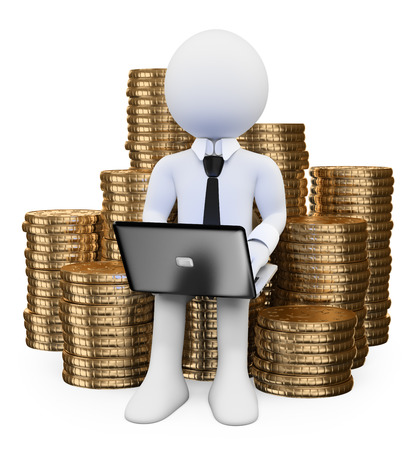 3d white people. Make money on Internet concept. Man sitting on a pile of coins with a laptop. Isolated white background.