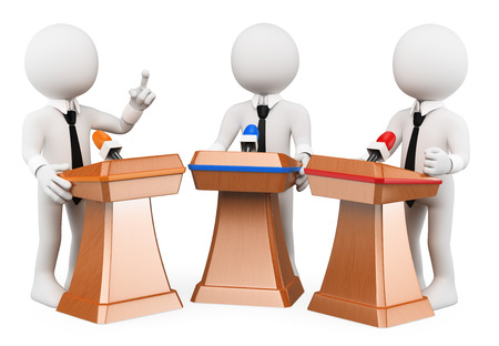 3d white people. Political debate. Political campaign. Isolated white background.