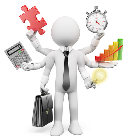 3d white people. Multitasking businessman with puzzle piece calculator graphic stopwatch bulb. Isolated white background.