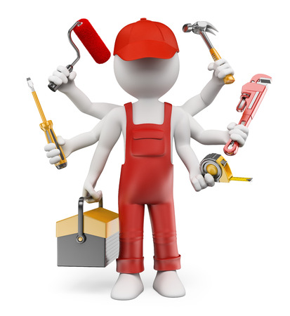 3d white people. Multitasking handyman with screwdriver tool box tape measure hammer wrench pipes paint roller. Isolated white background.