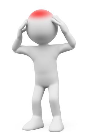 Foto de 3d white people. Man with headache. Isolated white background. - Imagen libre de derechos