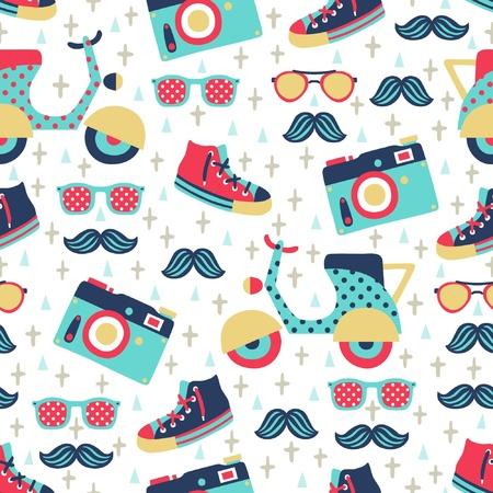 Ilustración de hipster seamless pattern  - Imagen libre de derechos