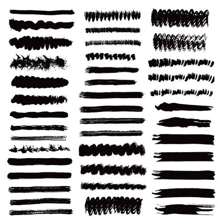 Illustration for Brush stroke collection. Ink black lines . Grunge stripes. Hand drawn design paintbrush elements isolated on white background. Vector set.  - Royalty Free Image