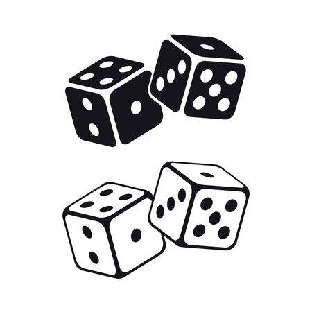 Dice cubes on white background. Vector illustration.