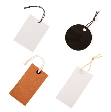 Photo pour Cardboard price label note with rope isolated on the white background. Tag set. - image libre de droit