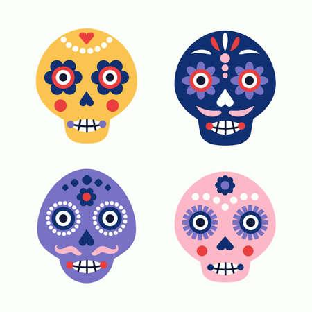 Illustration pour Colorful skull vector set. Day of the dead elements. Dia de los muertos holiday decoration. - image libre de droit