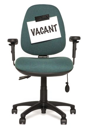 Photo for office chair with vacant sign                                 - Royalty Free Image