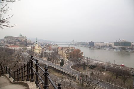 Panorama view on Danube River and Buda Castle