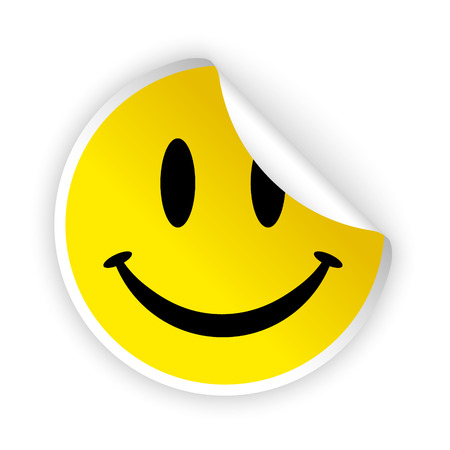 Illustration for vector white bent sticker with smiling face - Royalty Free Image