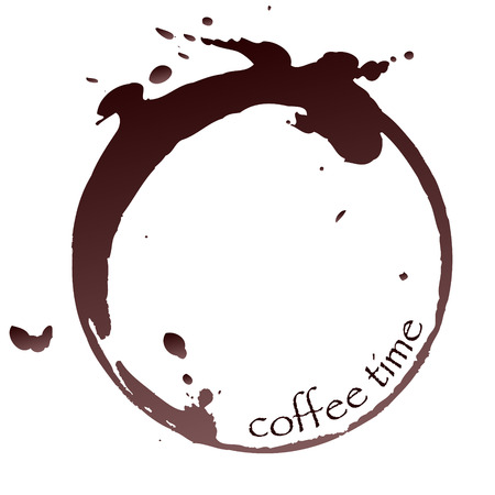 vector coffee stain with coffee time sign