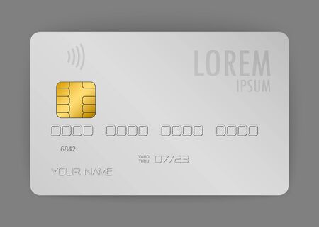 Illustration for vector realistic credit card, realistic electronic card used to pay at the store - Royalty Free Image