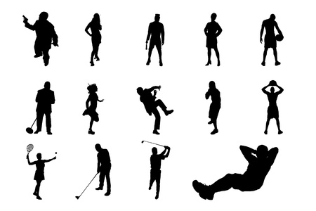 Lifestyle People in Different Poses Silhouette Vector  Collections of Figure from The People Performed in Silhouette