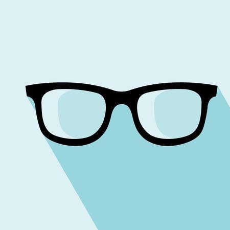 Glasses Icon. Vector illustration. Elements for design. Glasses Icon on blue background.