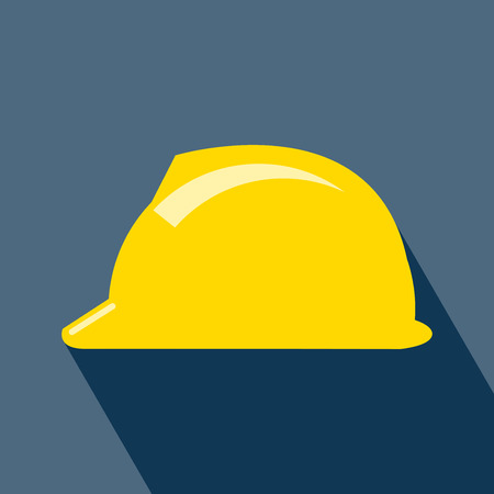 Construction Helmet Icon. Hard Hat Icon. Helmet Builder Icon. Construction Helmet Icon with long shadow. Vector.  vector illustration for design. All in a single layer. Vector illustration.