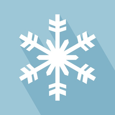 Snowflake Icon. Snowflake Icon with Long Shadow. Snowflake Icon in Flat Design Style.