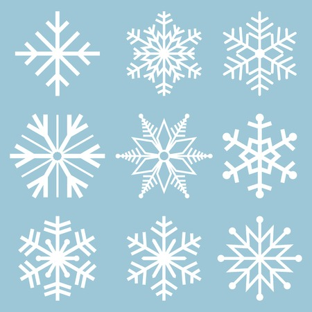 Snowflake icons. Snowflake Vectors. Snowflakes set. Background for winter and christmas theme. Vector illustration.