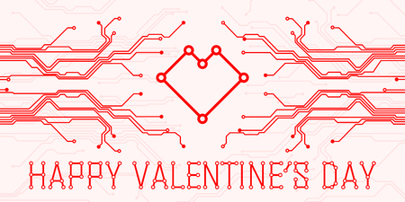 Colorful abstract technology heart. Valentines day on pink background. All in a single layer. Vector illustration.