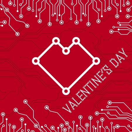 Colorful abstract technology heart. Abstract electronic circuit board. Valentines day on red background. All in a single layer. Vector illustration.