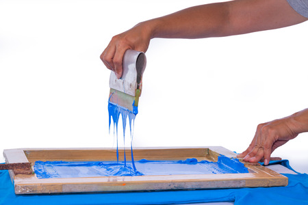 hand made screen printing with blue color print on blue tee shirt