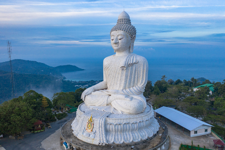 Photo for aerial photography scenery blue sky and blue ocean behind Phuket white big Buddha. Phuket white big Buddha is the famous landmark in Phuket island a lot of tourists visiting this landmark every day - Royalty Free Image