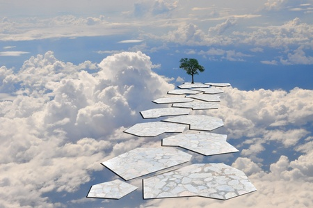 Stone Stairway or step to the lonely tree in the blue sky