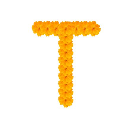 alphabet T from yellow and orange flowers. Isolated on white background. With clipping path