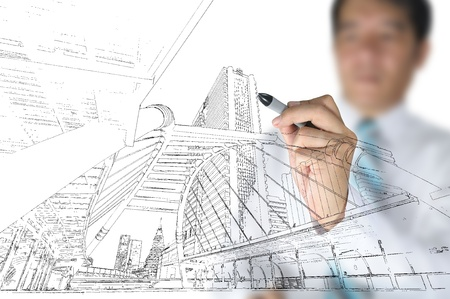Photo for Hand of business man draw building and cityscape - Royalty Free Image