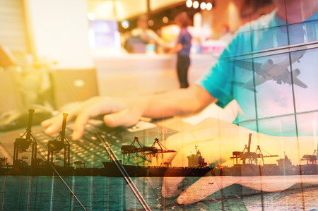 Photo for Double Exposure of Man with Laptop computer in Food Plaza or Coffee shop and Transportation Scene, airplane, Port with Power Crane. - Royalty Free Image