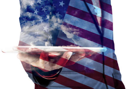 Double Exposure of Businessman with Cloud and America Flag as American Election or Politic concept