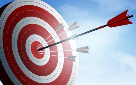 Illustration pour red arrows darts in target. business success goal. creative idea. illustration vector - image libre de droit