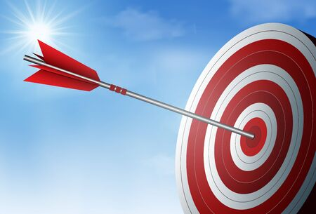 Illustration pour red one arrows darts in target circle. business success goal. on background sky and sun. creative idea. leadership. cartoon vector illustration - image libre de droit