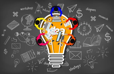 Illustration pour Business meeting. creativity inspiration planning light bulb icon concept. teamwork. businessmen help to brainstorm idea to achieve higher and success. vector illustration - image libre de droit