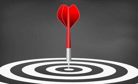 Dart target. success business concept. creative idea 3d illustration isolated on blackboard background
