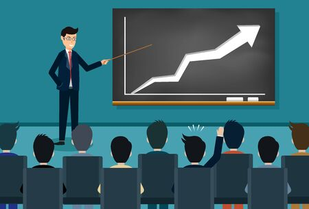 Illustration pour training theme businessman icon. person giving a presentation growing business finance on blackboard. Lecturer holds a conference. and comment on the participants. Vector illustration - image libre de droit