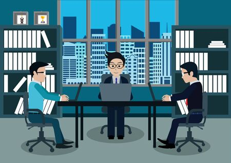 Illustration pour Businessman three in worker in office sit at the desks with notebook. workspace with table and computer. Big boss office. There is furniture a blue background in the picture. vector illustration - image libre de droit
