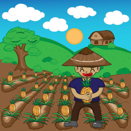 Farmer and pineapple a harvest vector illustration cartoonのイラスト素材