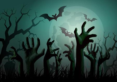 Illustration pour Illustration of Halloween Zombie Party. - image libre de droit