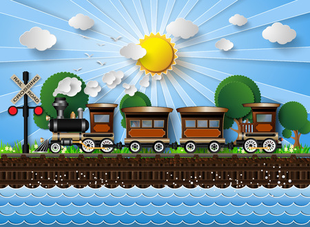 Illustration pour train on a background of sunshine.paper cut style. - image libre de droit