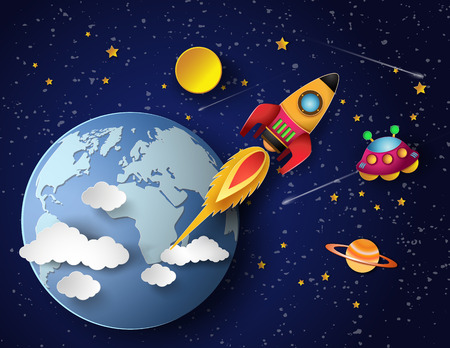Space rocket launch and galaxy . Vector illustration