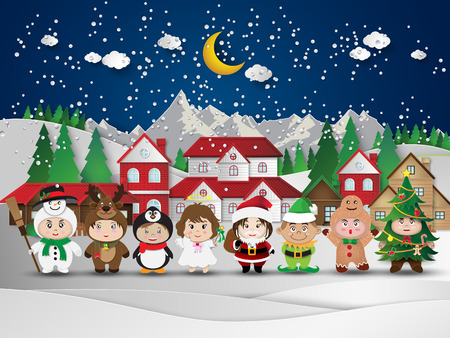Illustration for Christmas cute kids.vector illustration. - Royalty Free Image