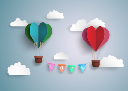 Illustration pour Origami made hot air balloon in a heart shape. - image libre de droit