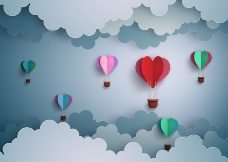 Ilustración de Origami made hot air balloon in a heart shape. - Imagen libre de derechos