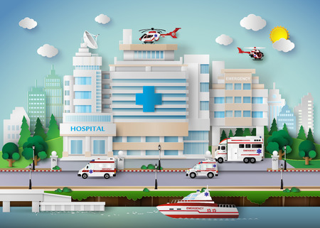 Vektor für hospital building and emergency transport. - Lizenzfreies Bild