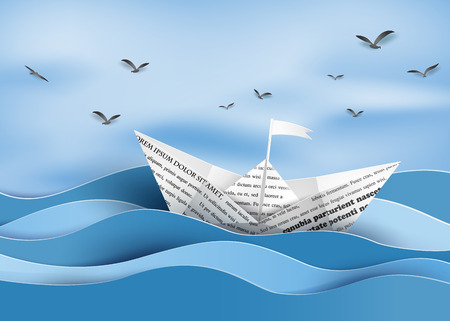 Illustration for origami made paper sailing boat - Royalty Free Image