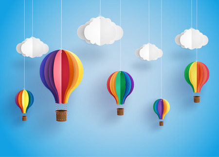 Illustration for Origami made colorful hot air balloon and cloud.paper art style. - Royalty Free Image