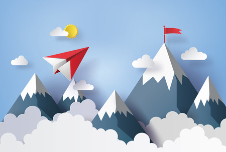 Photo pour illustration of nature landscape and concept of business,paper plane flying on sky with cloud and mountian.design by paper art and craft style - image libre de droit